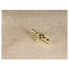 Vintage Petite 14 K Gold, Diamond and Emerald Cross.