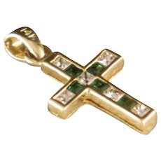 Vintage Petite 14 K Gold, Diamond and Emerald Cross.