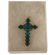 Vintage 1940's Sterling Silver Green Large Turquoise Cross