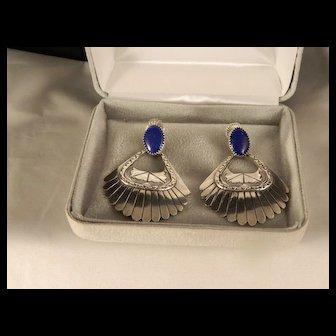 Vintage Navajo Large Sterling Silver Lapis Dangle Earrings