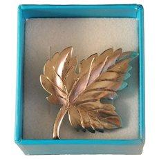 Vintage Tiffany Sterling Silver Oak Leaf Brooch Pin