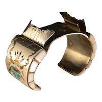 Vintage 1960s Sterling Silver Zuni Kachina Mans Watch Bracelet