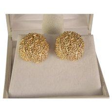 Vintage Estate Solid 14 K Gold Clip Earrings