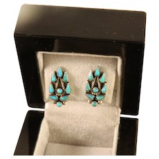 Vintage Zuni Needle Point Turquoise Sterling Silver Clip on Earrings