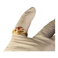 Vintage Estate Modern Bypass 14 K Yellow Gold Ruby and Diamond Ring Size 5 1/2