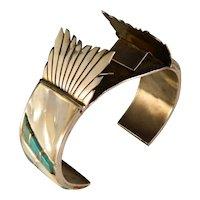 Exquisite Vintage Inlay Mosaic Zuni Watch Cuff Bracelet