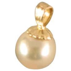Vintage 7 mm Round Cultured Pearl 14 K Yellow Gold Pendant