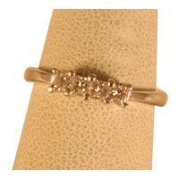 Vintage .33 ct White Gold Princess Cut Diamond Four Stone Ring