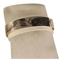 Vintage Sterling Silver Acid Etched Floral Bracelet