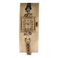 Vintage 40s to 50s Lady Hamilton 14 K White Gold Watch