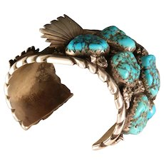 Vintage Old Pawn Sterling Silver Morenci Turquoise Bold Large Navajo Watch Cuff Bracelet