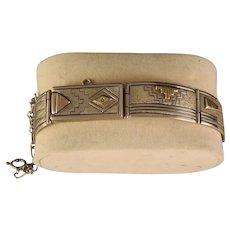 Vintage Mark Yazzie Navajo Sterling Silver Fetish 14 K Gold Bracelet
