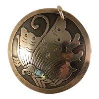 Vintage Sterling Silver Acid Etched Lotus Pendant