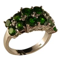 Vintage Sterling Silver Synthetic Emerald 12 Stone Ring