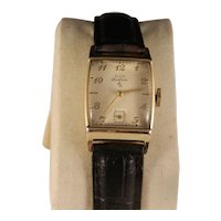 1950s Vintage Mens Curved Angle Elgin Deluxe 10 K Gf Wristwatch
