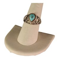 Vintage 1970's Sterling Silver And Turquoise Ring Size 8