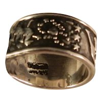 Vintage Wide Sterling Silver Petroglyph Band Ring