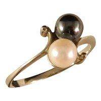 Vintage 14 K White Gold Twin Yin Yang Pearl Ring