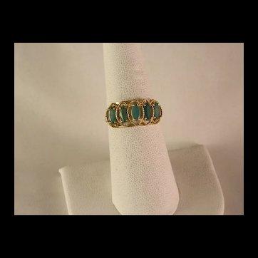 Vintage 10 K Gold Faceted Chrysoprase Ring