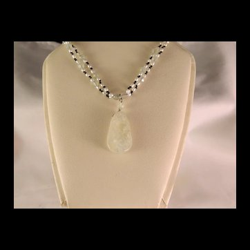 Beautiful Vintage Green Quartz  and Seed Pearl Sterling Silver Necklace