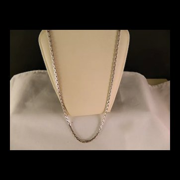 Vintage Heavy Rectangle Link Sterling Silver Chain Necklace