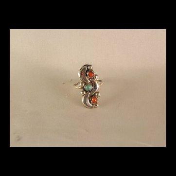 Vintage 1970's Petite Zuni Style Ring Size 5