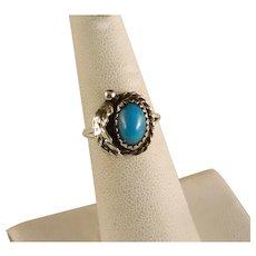 Vintage Navajo Sterling Silver Turquoise & Leaf Ring Size 6