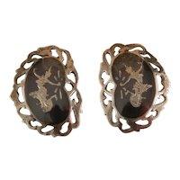 Vintage Siam Sterling Silver Niello Earrings