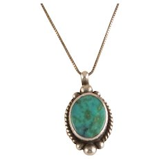 Vintage Navajo Turquoise and Sterling Silver Pendant