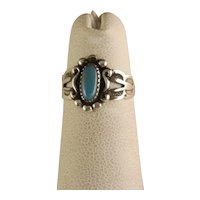Vintage Child's Ring Sterling Silver Turquoise Fred Harvey Era Bell Trading Post