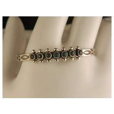 Vintage Fred Harvey Era Sterling Silver Turquoise and Sterling Silver Baby Small Child's Snake Eye Bracelet