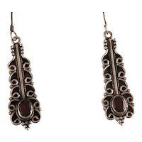 Vintage Beautiful Sterling Silver Scroll work and Garnet Dangle Earrings