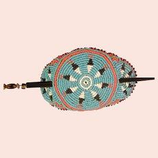 Beautiful Vintage Lakota Beaded Ceremonial Hair Stick Barrette