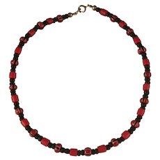 Vintage Black and Red Bead Anklet