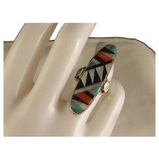 Vintage Zuni Elongated Classic Design Inlay Ring