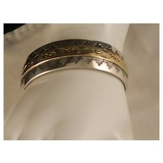 Vintage Beautiful Navajo Style Sterling Silver Two Tone Cuff Bracelet