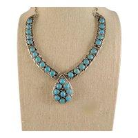 Vintage Sleeping Beauty Snake Eye Turquoise Southwest Native American Necklace