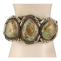 Vintage 1950's Navajo Boulder Royston Turquoise Sterling Silver Cuff Bracelet
