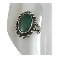 Vintage Navajo 1950's Royston Green Turquoise And Sterling Silver Fred Harvey Era Ring
