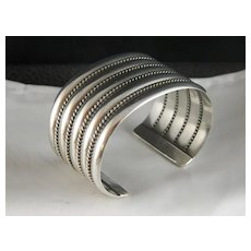 Navajo Five Band Sterling Silver Cuff Bracelet With Rope Twist by Verna and Franklin Tahe