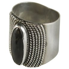 Wide Vintage Marquise Sterling Silver Black Onyx Ring