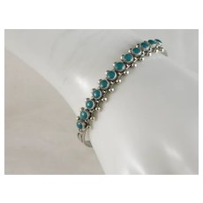 Vintage Sterling Silver Snake Eye Turquoise Native American Fred Harvey Era Cuff Bracelet