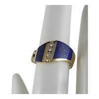 Vintage 1980's Lapis Diamond Ring By Kabana