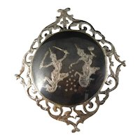 Vintage Siam Sterling Silver Niello Dancers Large Brooch Pin