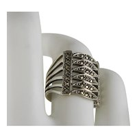 Vintage Sterling Silver Marcasite Bold Ring Size 7