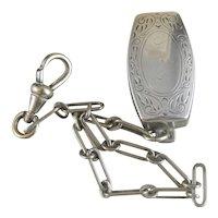 Vintage Sterling Silver Hickok Belt O Gram Belt Loop Pocket Watch Fob.