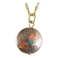 Vintage Petite Delicate Cloisonne' Pendant And 14 K. Gold Fill Chain Necklace