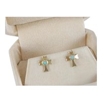 Vintage 14 K Gold Filled Opal Cross Earrings Circa 1970