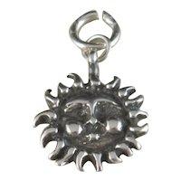 Vintage Sterling Silver Sun Face Charm / Pendant