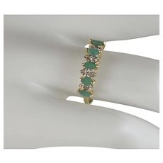 10 k yellow gold vintage Chrysoprase And Diamond ring circa 90's